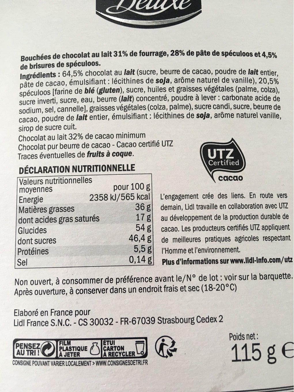 Bouchées chocolat lait - Nutrition facts