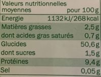 Tagliatelles fraîches aux oeufs bio - Voedigswaarden