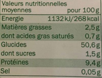 Tagliatelles fraîches aux oeufs bio - Informations nutritionnelles