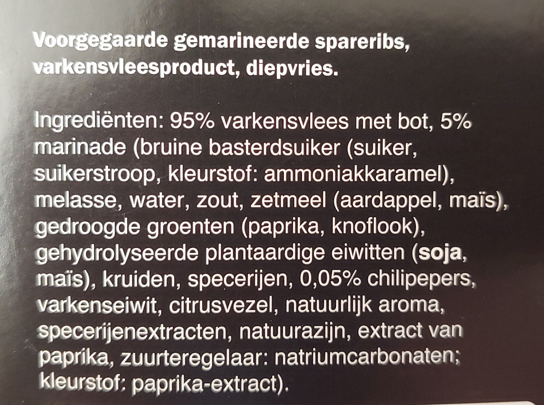 spareribs sweet chilly - Ingredients - nl