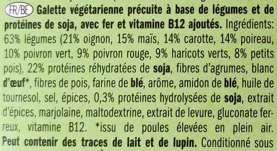 Galette végétarienne aux légumes - Ingrédients - fr