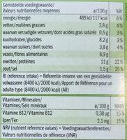 Galette végétarienne aux légumes - Informations nutritionnelles - fr