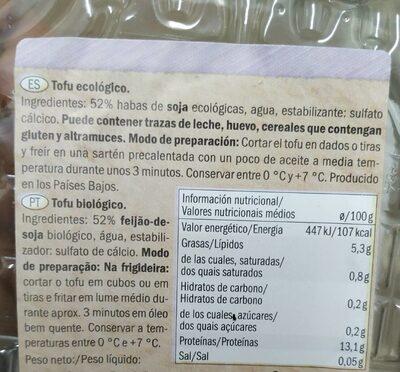 Bio Tofu Classique - Informations nutritionnelles - fr