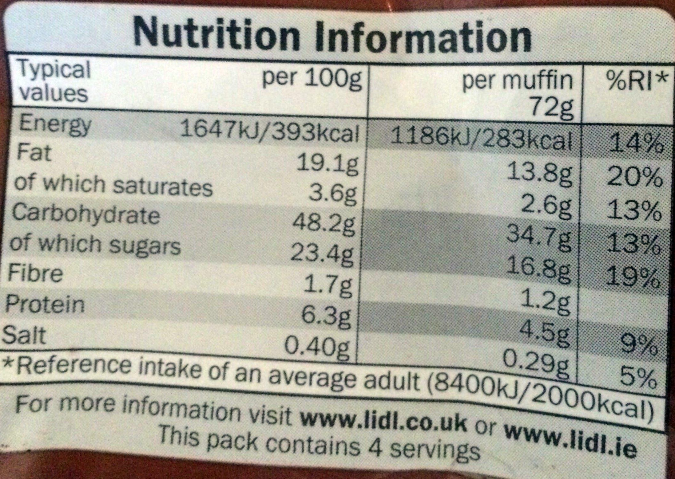 Double chocolate muffins - Informations nutritionnelles - en