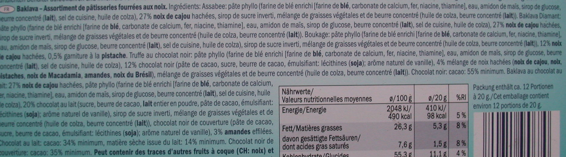 Baklava assortment - Ingredients