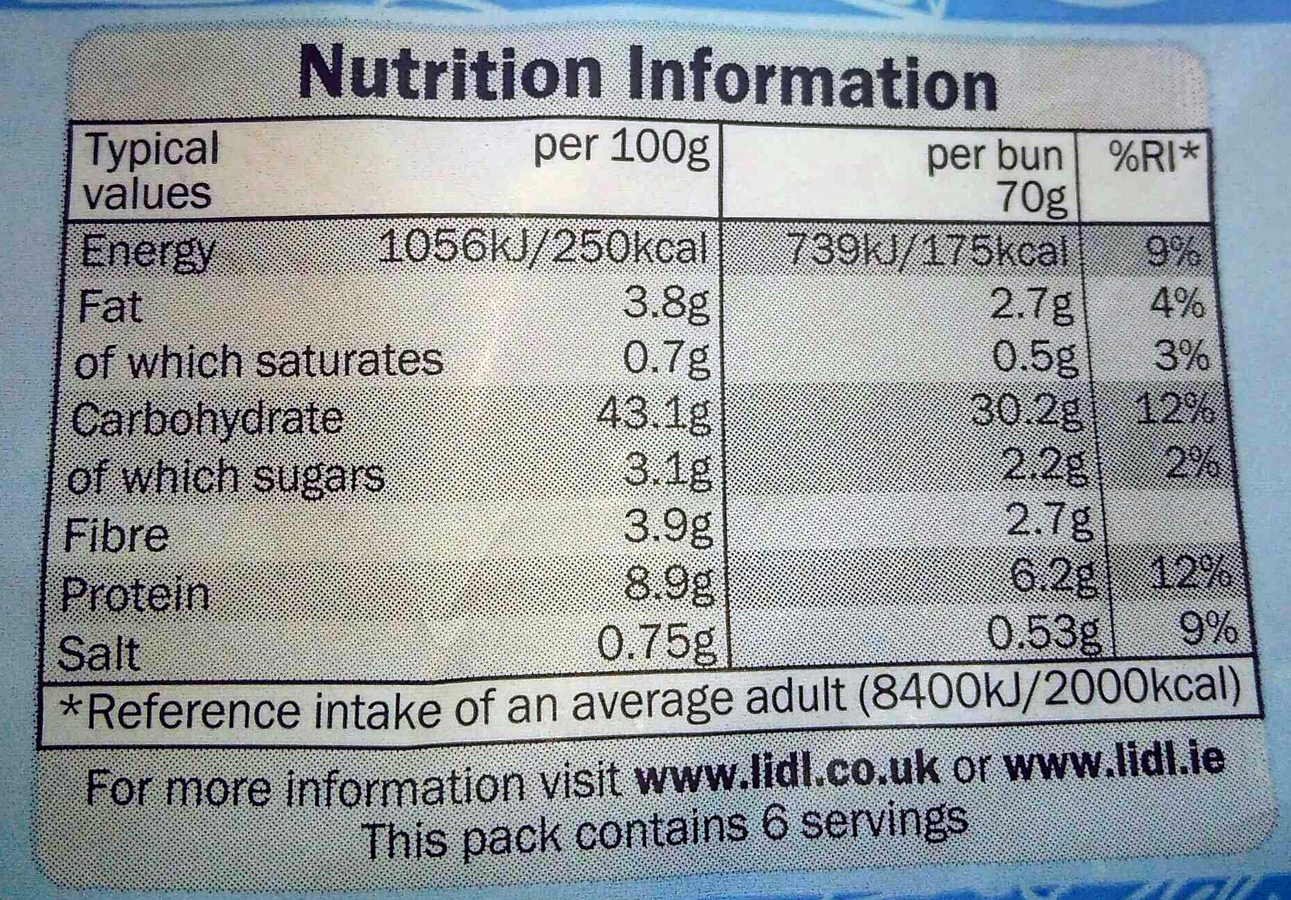 6 seeded burger buns - Nutrition facts