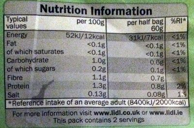 Mild Mixed Leaf - Nutrition facts