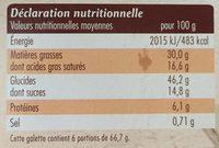 Galette des Rois - Frangipane Pépites de chocolat - Informations nutritionnelles - fr
