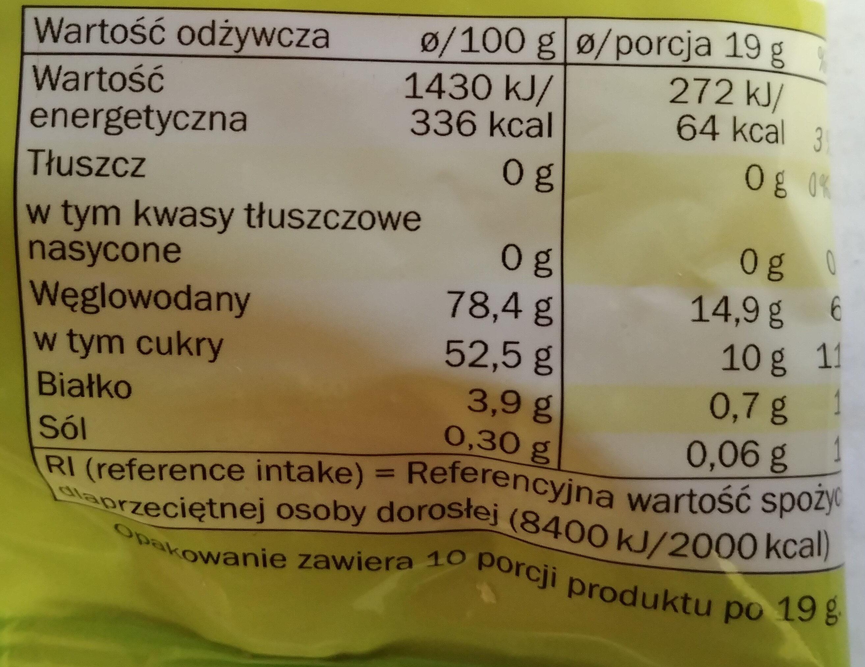 Sour Fruits - Kwaśne żelki o smaku owocowym. - Voedingswaarden - pl