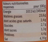 Moutarde mi-forte - Nutrition facts