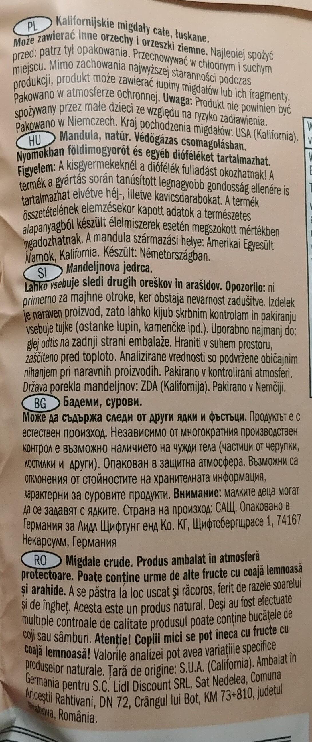 Kalofornische Mandeln, naturbelasen - Składniki - pl