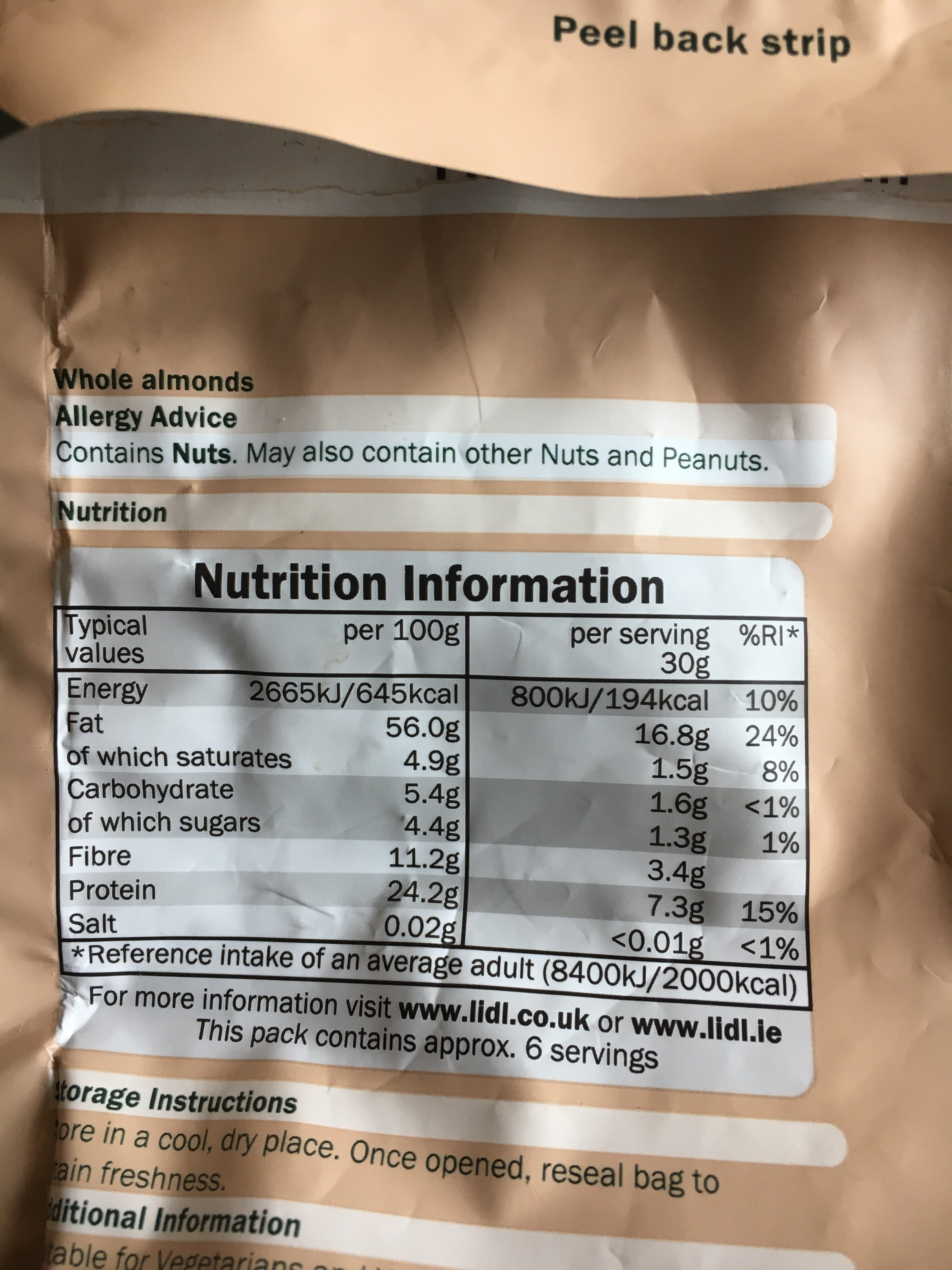 Kalofornische Mandeln, naturbelasen - Nutrition facts - en