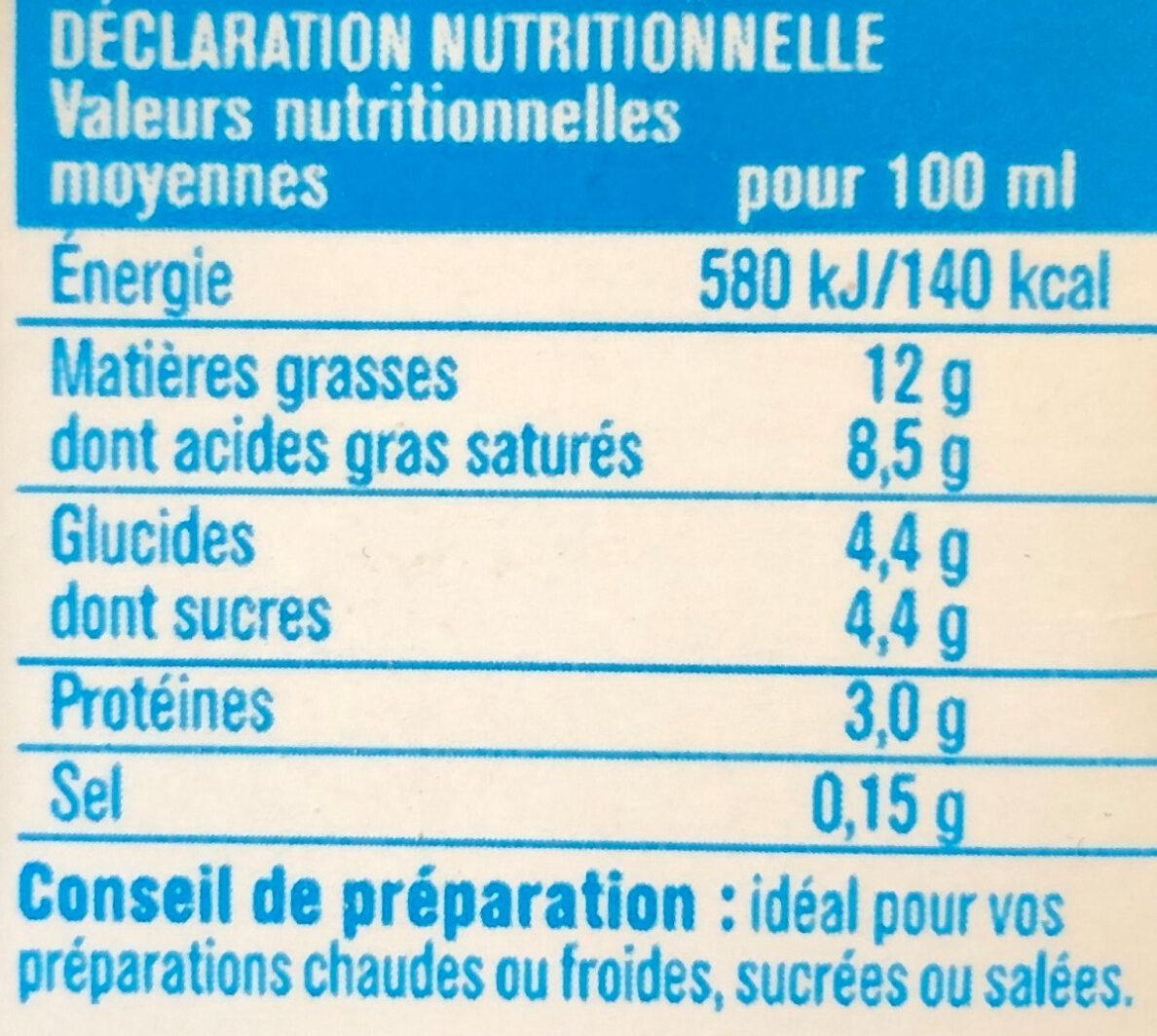 Crème légère liquide 12% - Informations nutritionnelles - fr