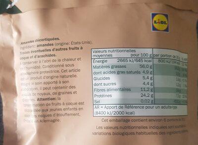 Amandes de californie - Informations nutritionnelles - fr