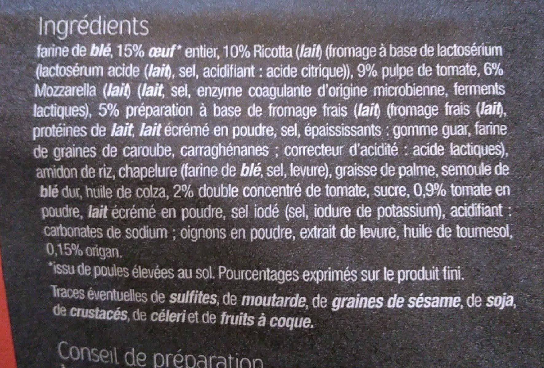 Ravioli Tomate Mozzarella - Ingrédients