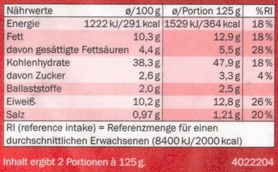 Ravioli Tomate Mozzarella - Nutrition facts - de