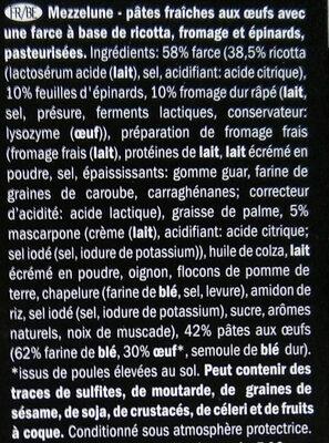 Mezzelune ricotta et épinards - Ingrediënten