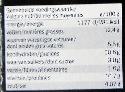 Mezzelune ricotta et épinards - Voedingswaarden - fr