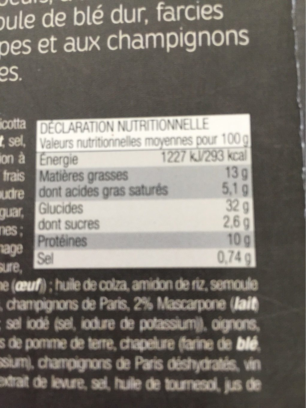 Demi lune cèpes - Nutrition facts - fr