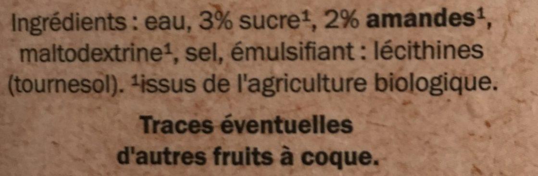 Lait d'Amande Bio - Ingrédients - fr