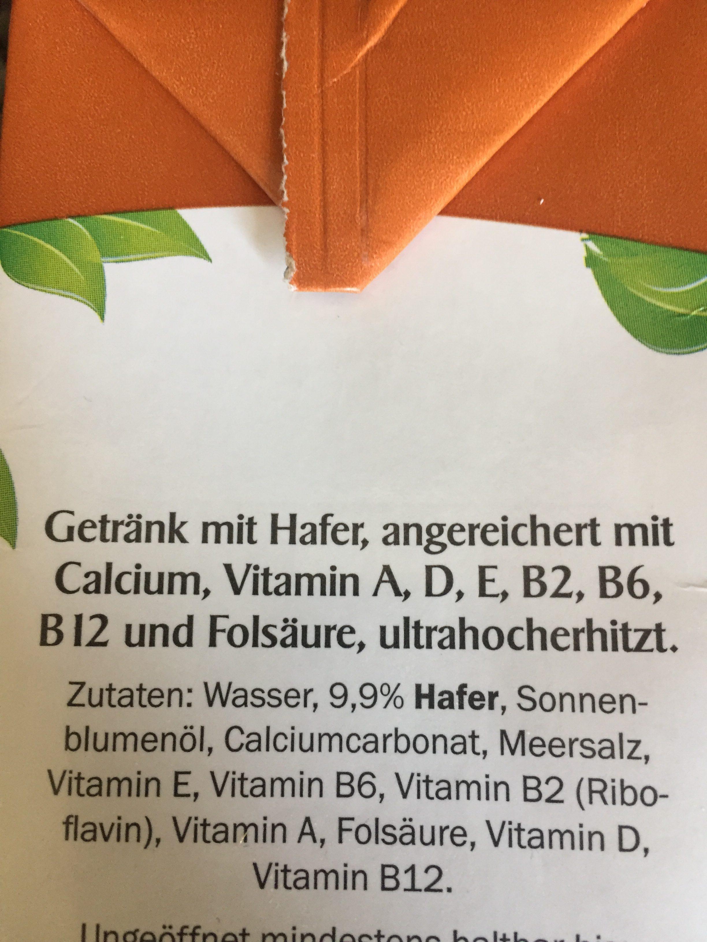 Hafer-Drink - Ingrédients - fr
