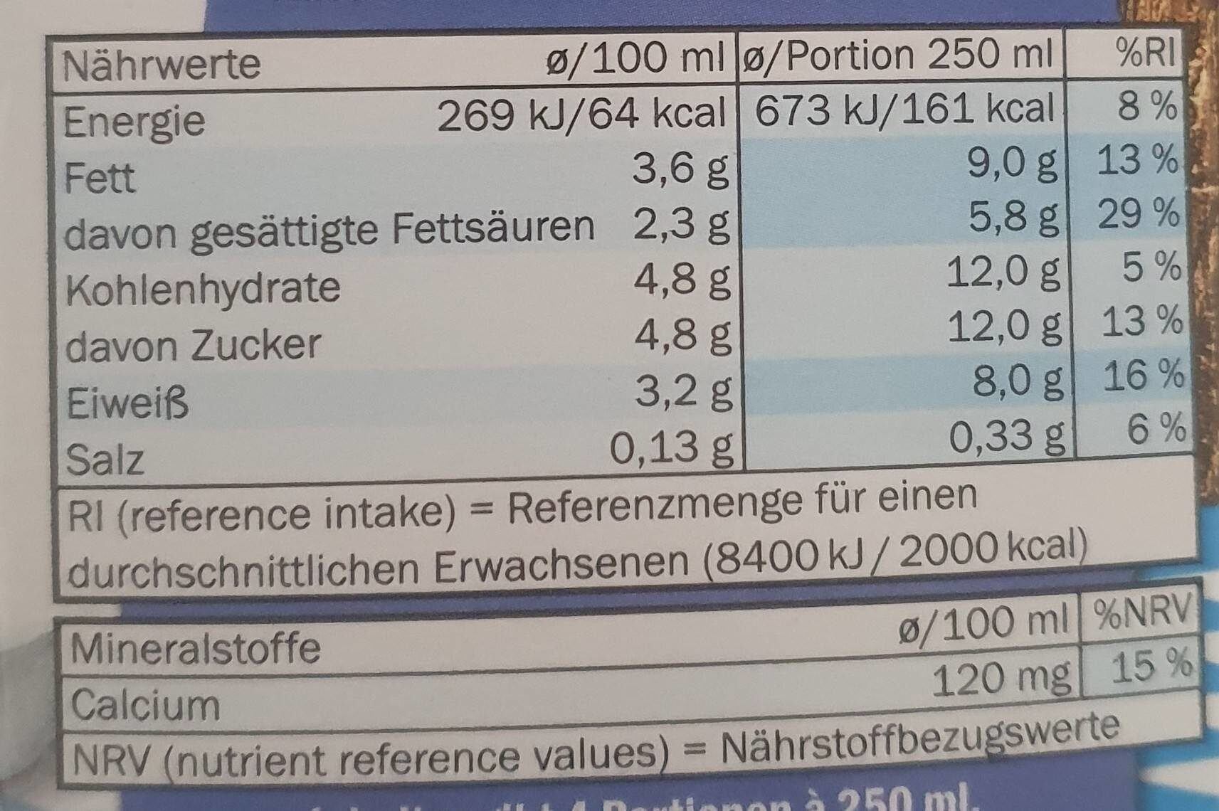 Bayrische Bauernmilch - Valori nutrizionali - de