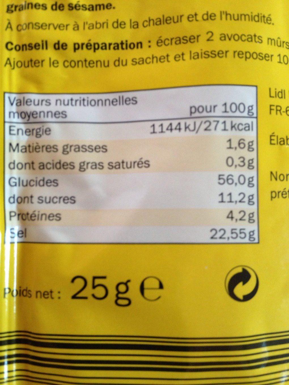 Melange pour Guacamole - Informations nutritionnelles