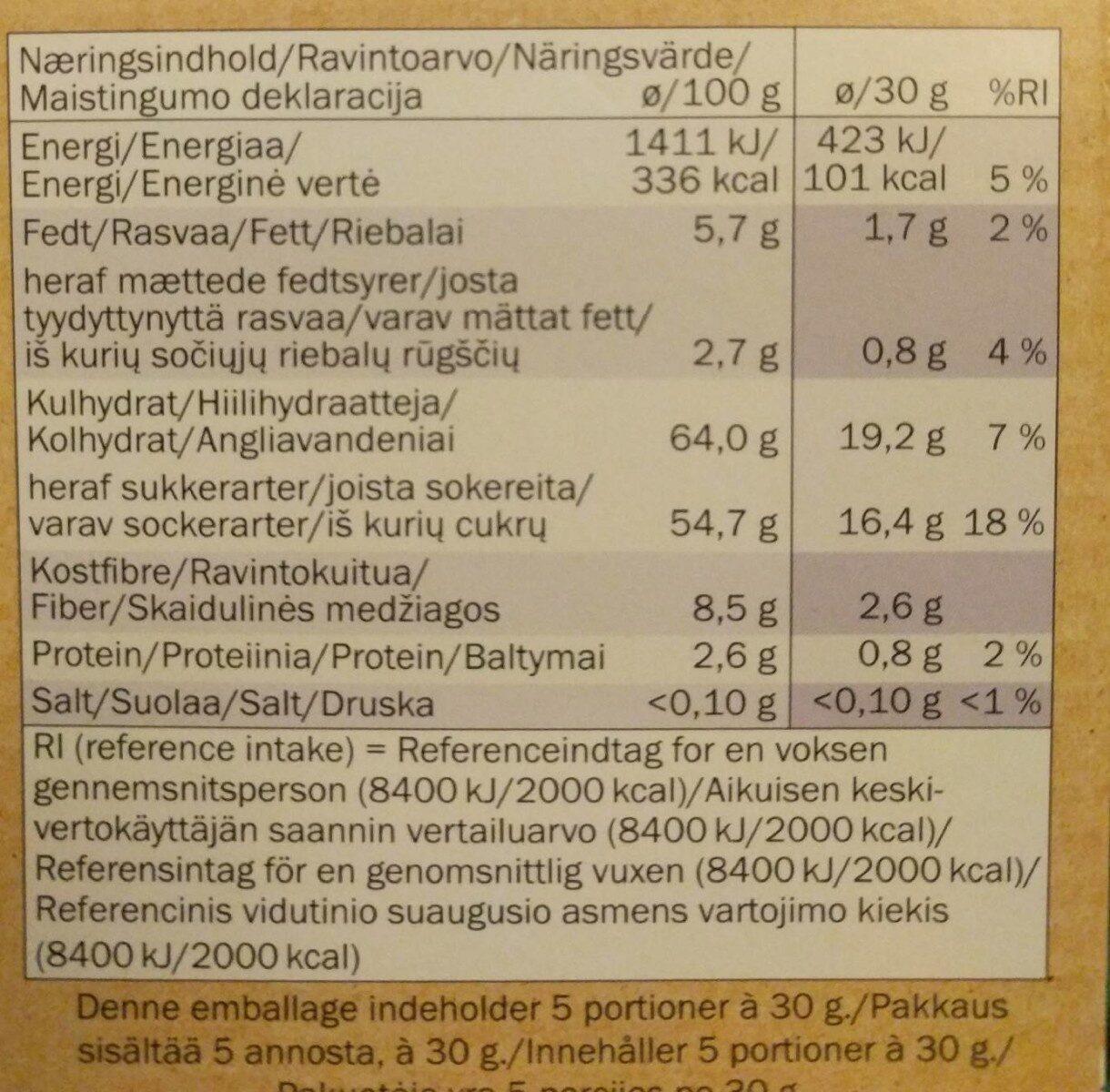 Fruit snack blueberry - Valori nutrizionali - fr