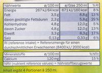 Haltbare Voll-Milch - Nährwertangaben