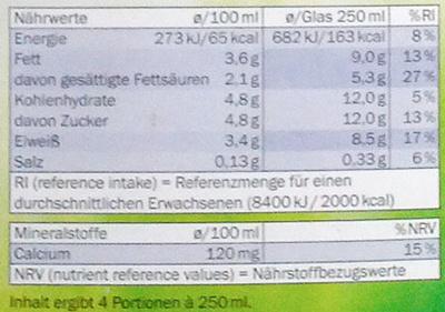 Frische Voll-Milch - Nährwertangaben