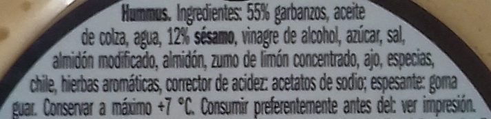 Houmous classic - Ingredientes