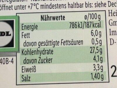 Ensalada de Bulgur - Informació nutricional - de