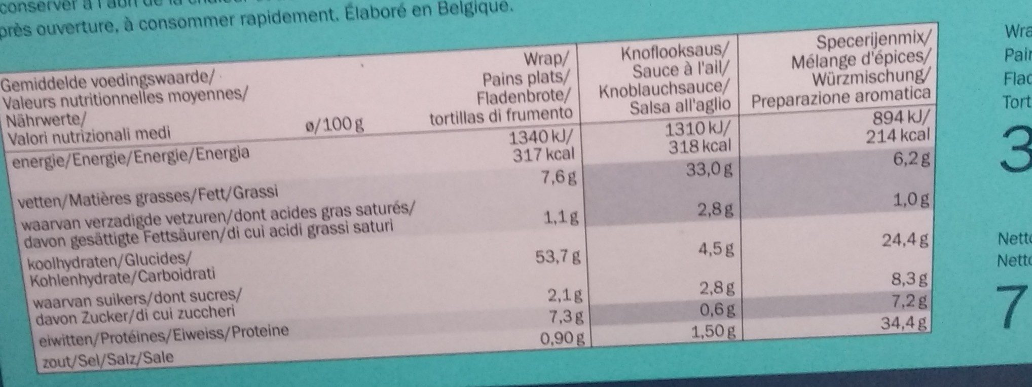 Kebab dinner kit - Nutrition facts - fr