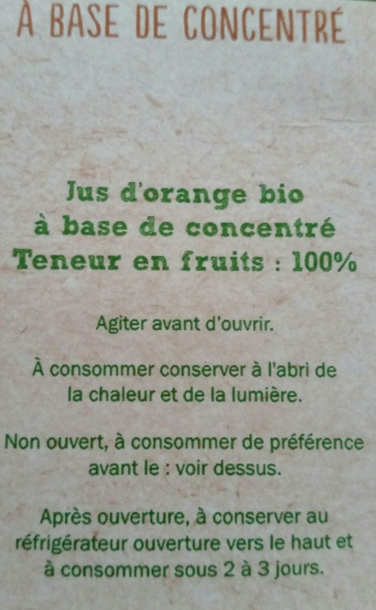 Jus d'orange bio - Ingrédients - fr