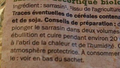 Sarrasin bio - Ingrediënten - fr