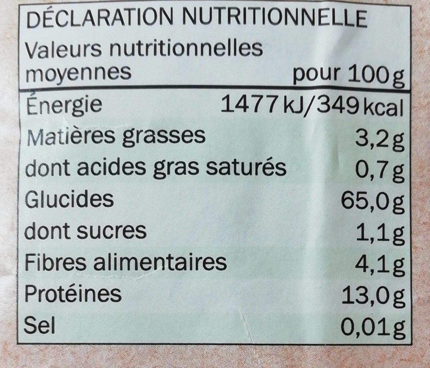 Sarrasin bio - Voedingswaarden - fr