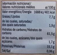 Amaranto - Informació nutricional - es