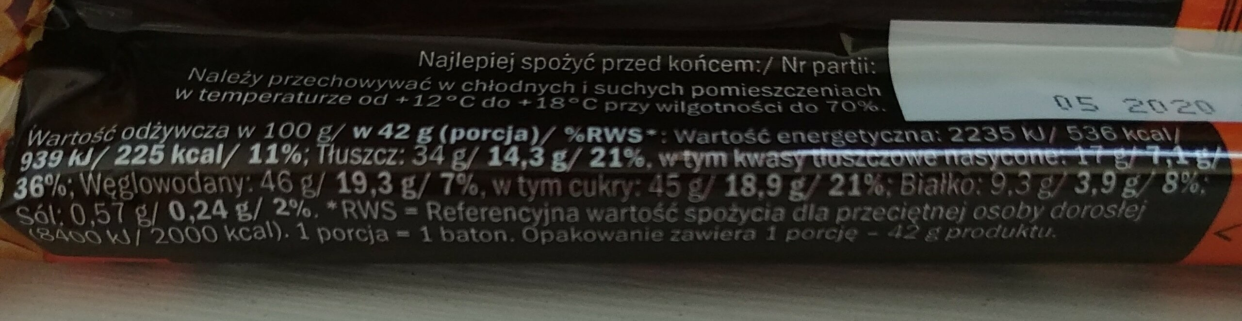 Baton Arcy Orzech - Nutrition facts - pl