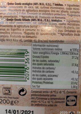 Bio gouda - Informations nutritionnelles - fr