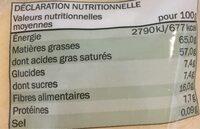Bio chips de noix de coco - Voedigswaarden