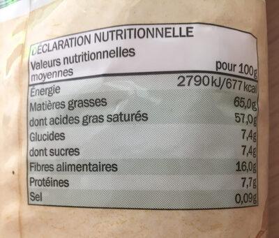 Chips de Noix de Coco Bio - Informations nutritionnelles - fr