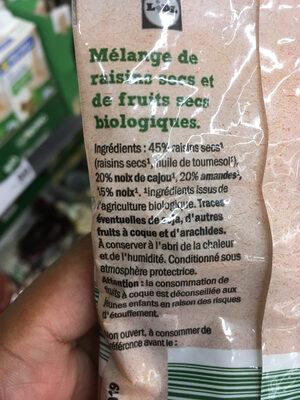 mélange de fruits secs Bio - Nutrition facts - fr