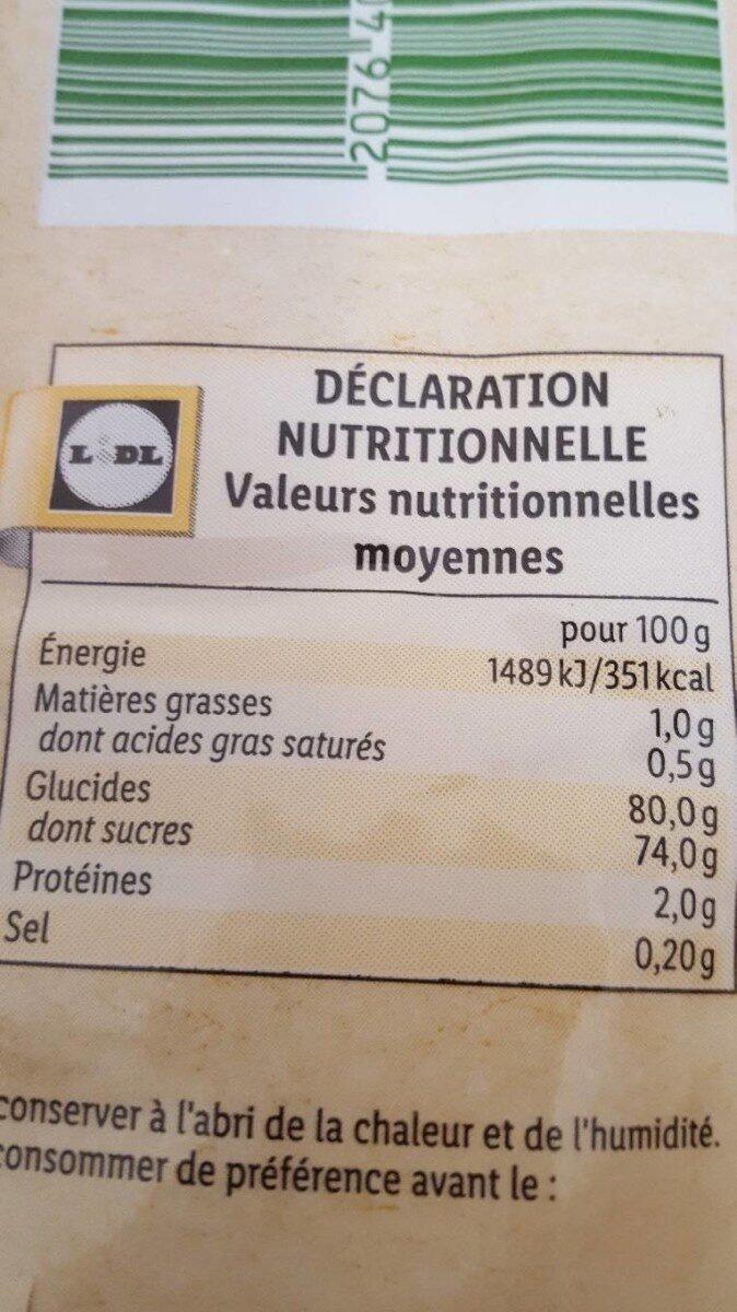 Mangue séchée - Valori nutrizionali - fr