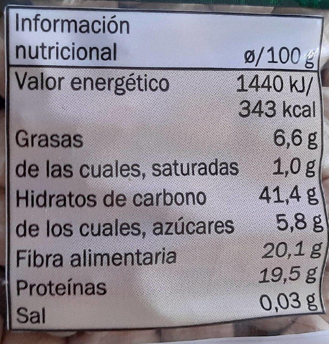 Garbanzos categoría extra - Información nutricional