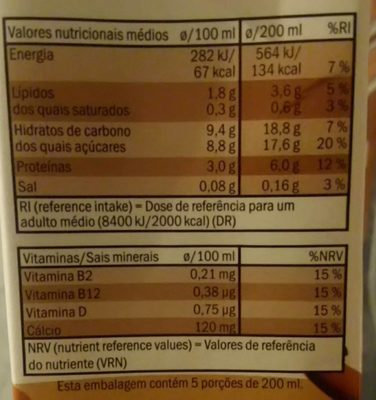 Soja chocolate suave - Nutrition facts