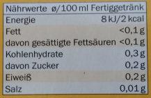 Apfel-Vanillegeschmack-Tee - Nutrition facts - de