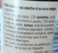 Choco - Pâte à tartiner aux noisettes et au cacao maigre - Ingredienti - fr