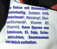 Dinkel Kekse - Ingredients - fr