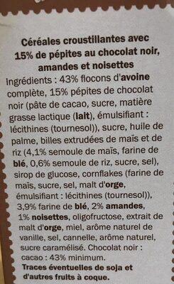 Muesli Croustillant aux Éclats de Chocolat Noir - Ingrédients - fr