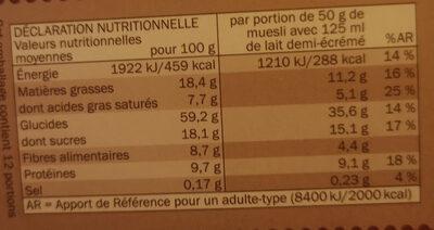 Muesli - Croustillant - aux Éclats de Chocolat Noir - Nutrition facts - en